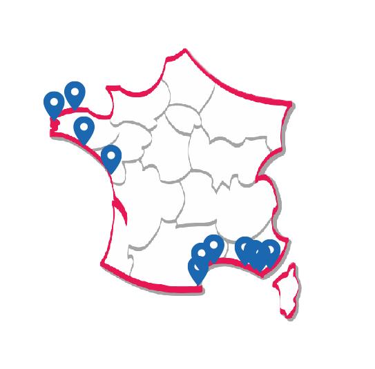 Représentation de la carte de France qui répertorie les club de voile français propriétaires de notre dériveur foil